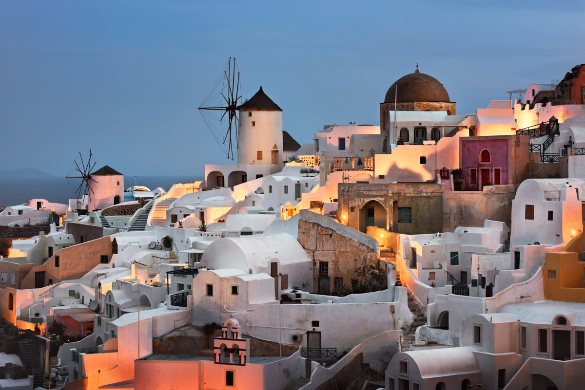 Oia Village at Dawn, Santorini, Greece