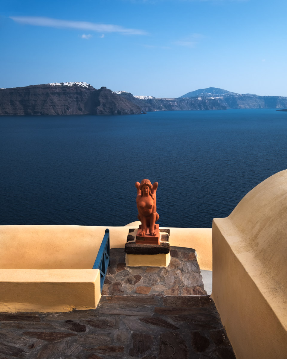 Orange Sphinx in Oia Village, Santorini, Greece