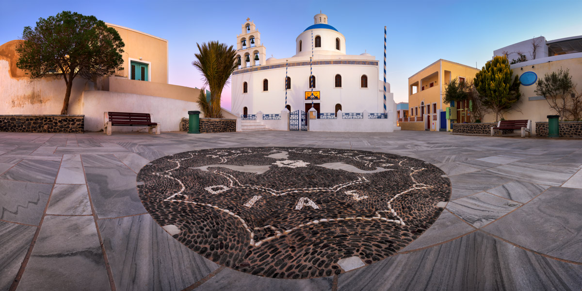 Panorama of Panagia Platsani Orthodox Church, Santorini, Greece