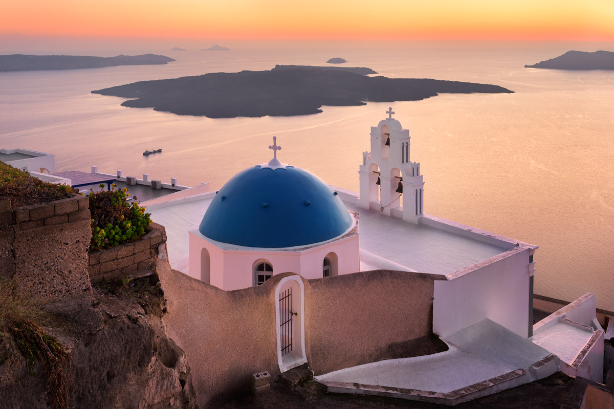 Saint Theodore Church in the Evening, Santorini, Greece
