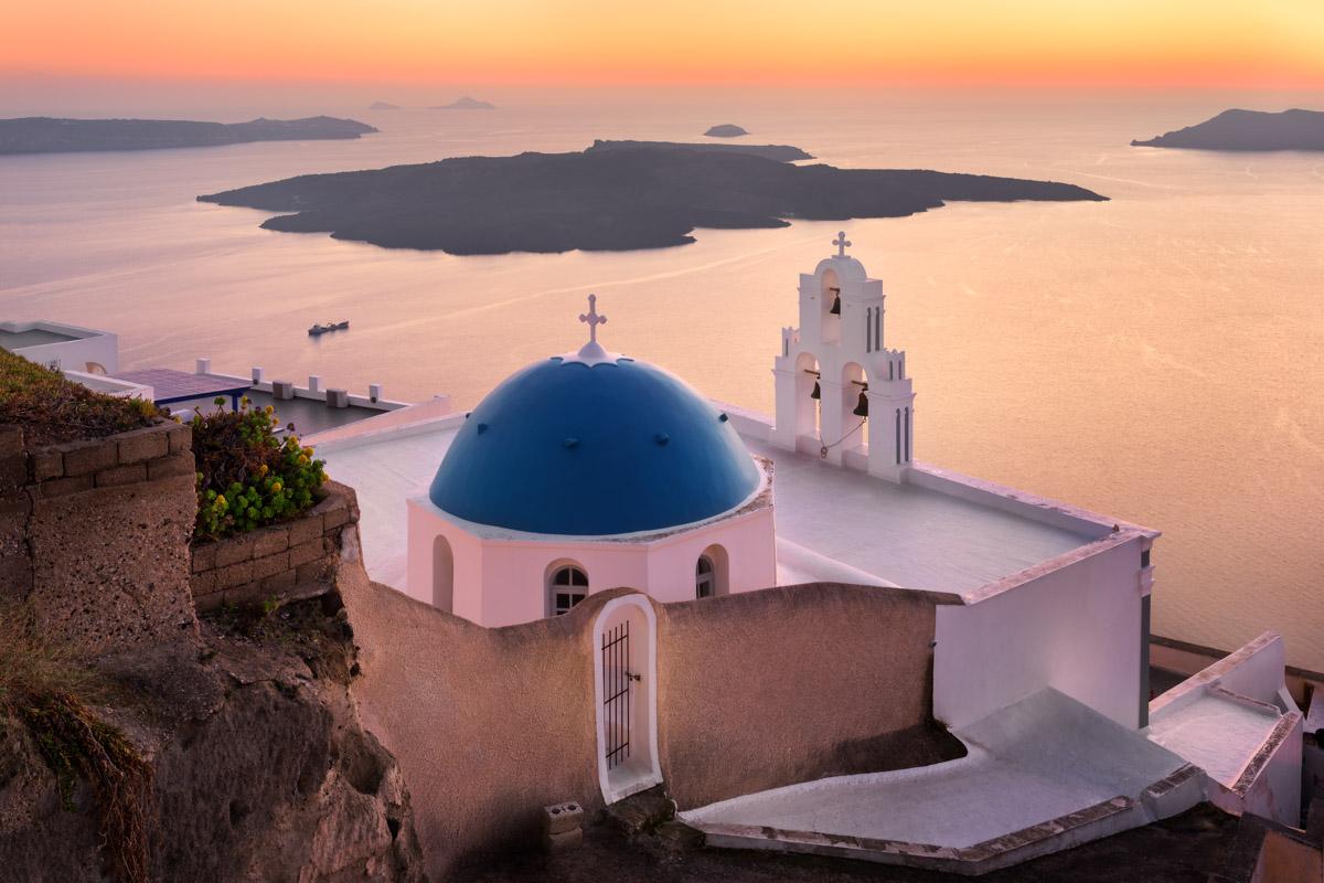 Saint Theodore Church in the Evening, Santorini, Greece
