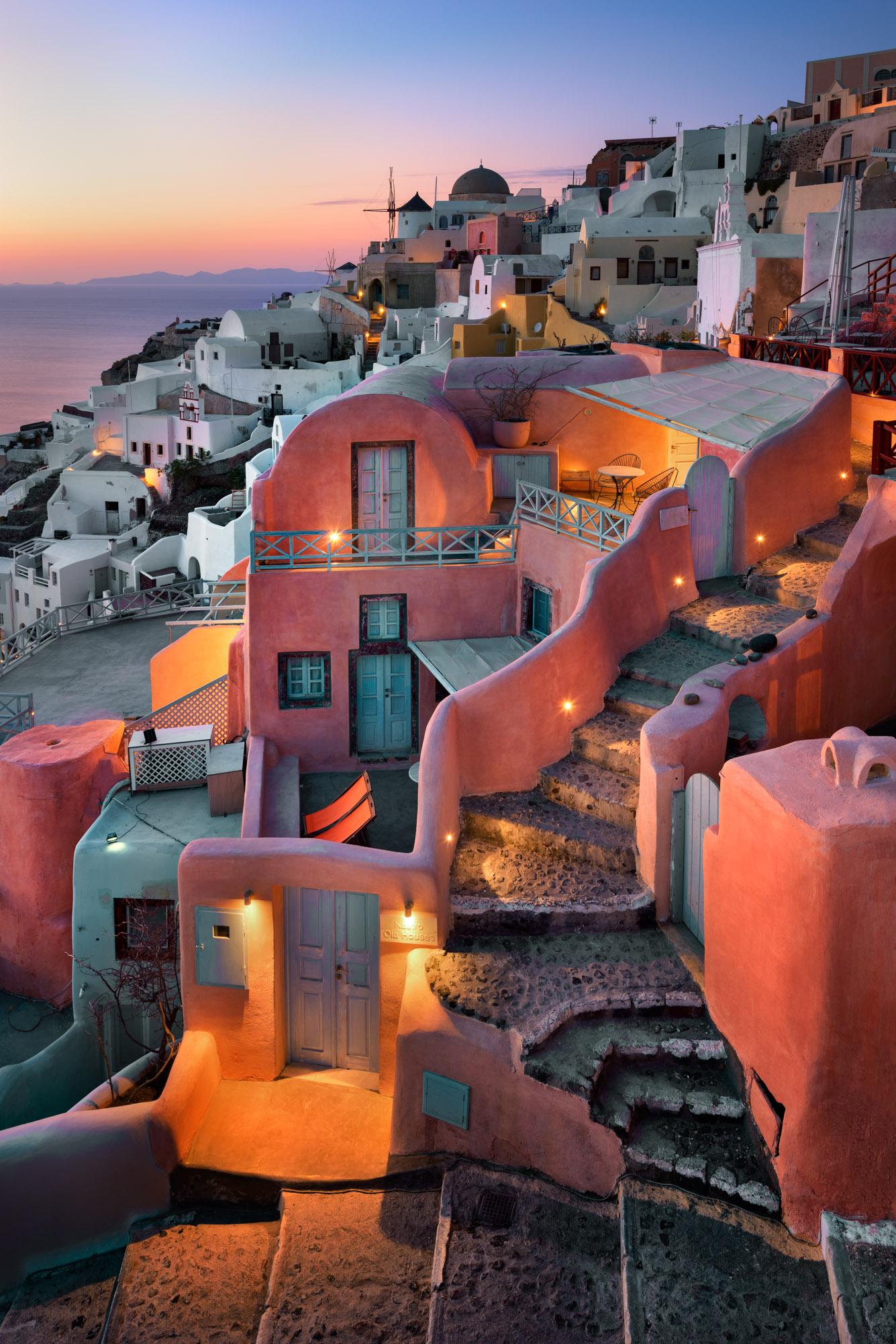 Stairs and Houses of Oia, Santorini, Greece