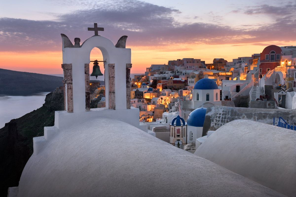 White Roofs and Churches of Oia, Santorini, Greece