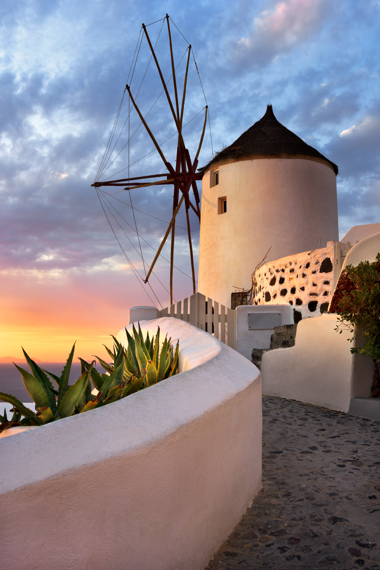 Windmill in Oia Village, Santorini, Greece