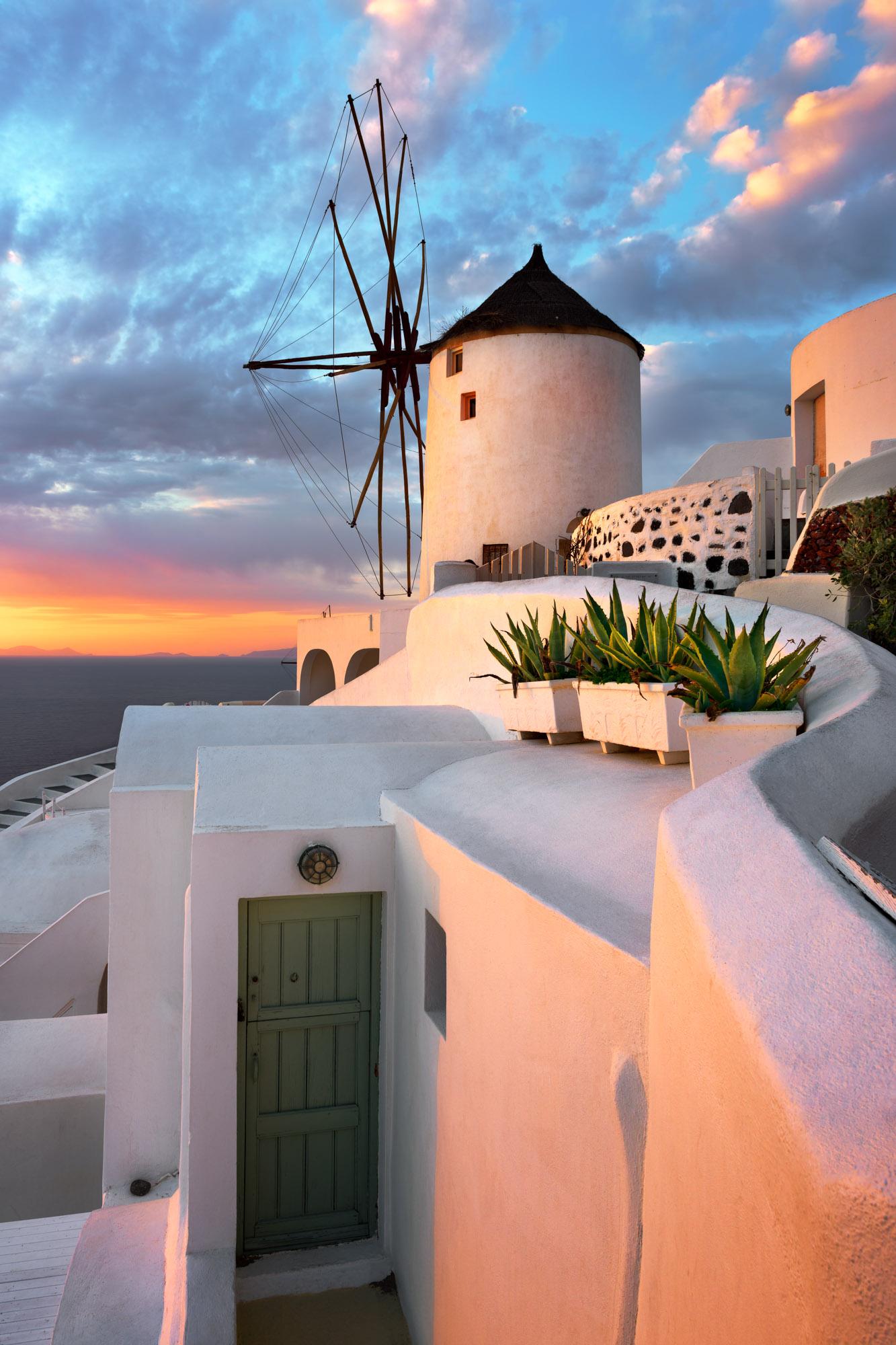 Windmill, Oia Village, Santorini, Greece