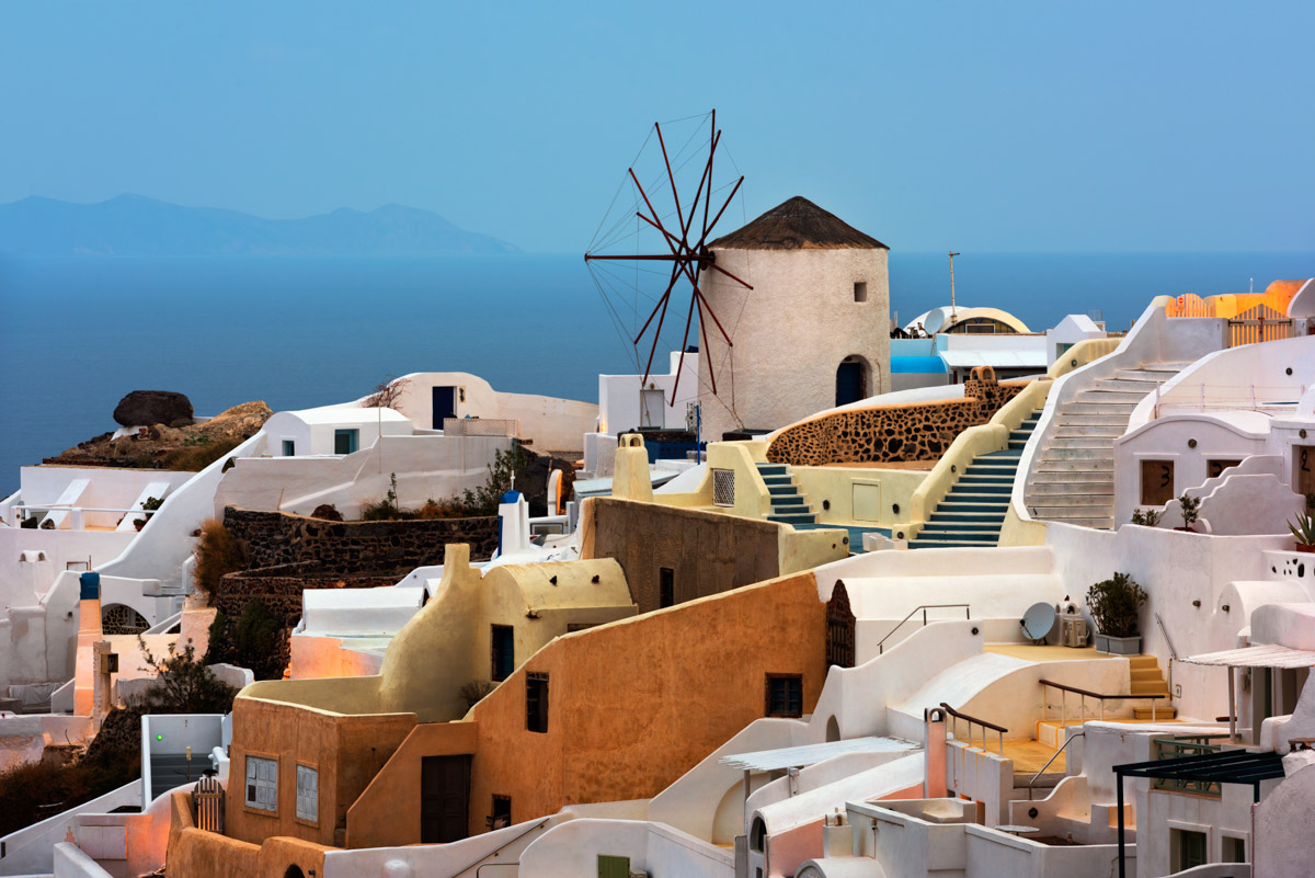 Windmills of Oia Village, Dawn, Santorini, Greece