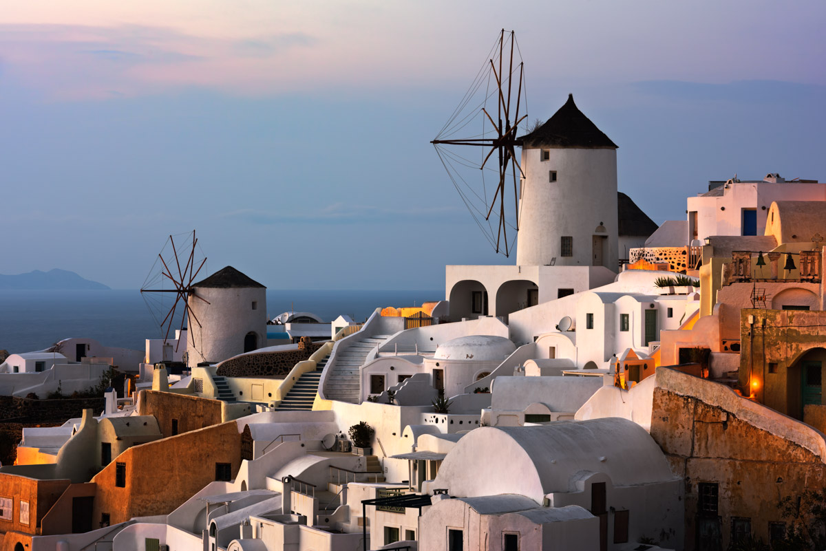 Windmills of Oia Village, Santorini, Greece
