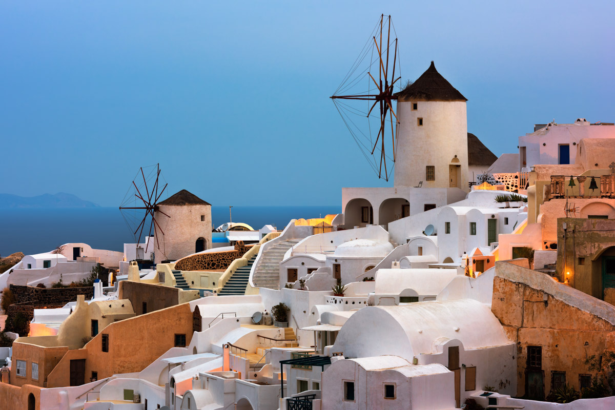 Windmills, Oia Village, Dawn, Santorini, Greece