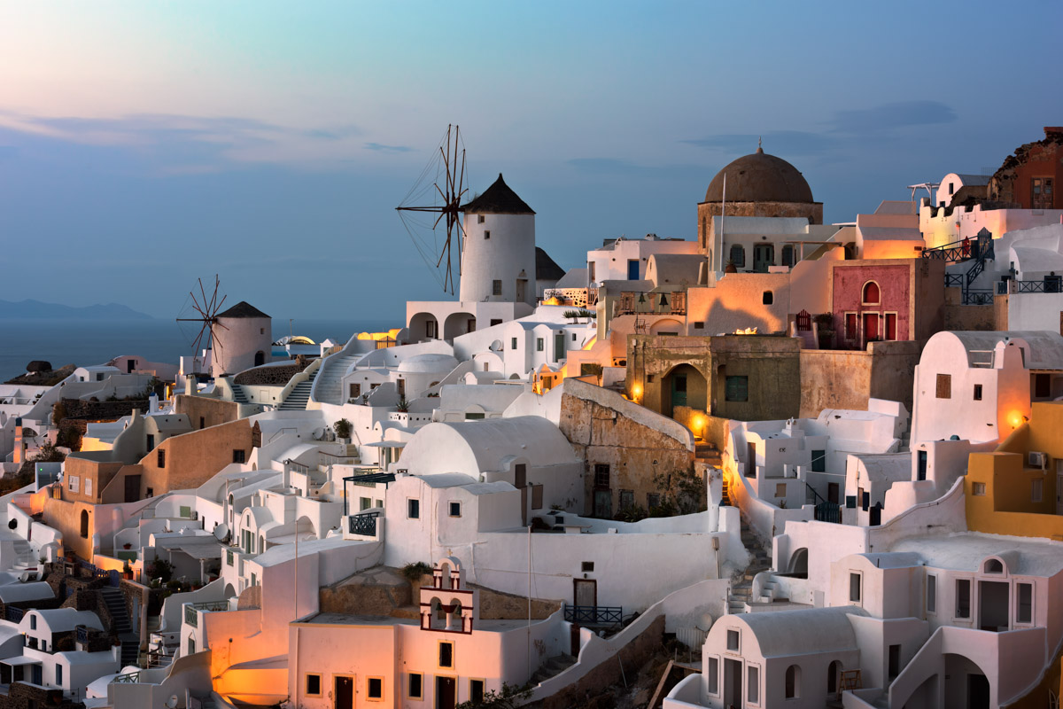 Windmills, Oia Village, Santorini, Greece