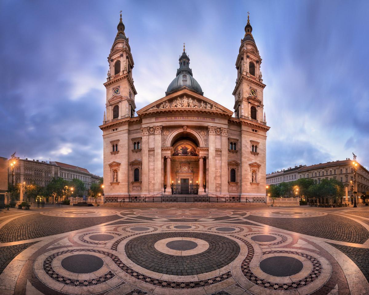 Panorama of Saint Stephen Basilica, Budapest, Hungary