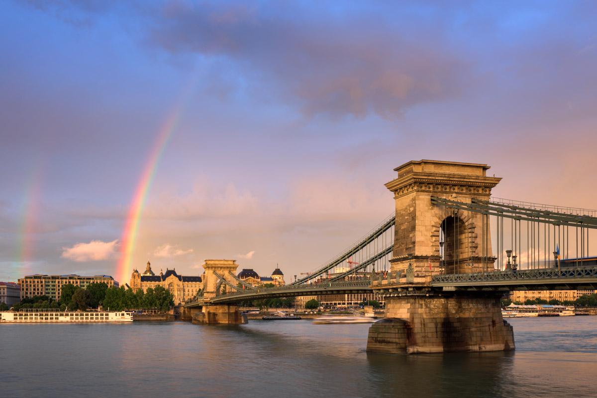 Rainbow and Szechenyi Chain Bridge, Budapest, Hungary
