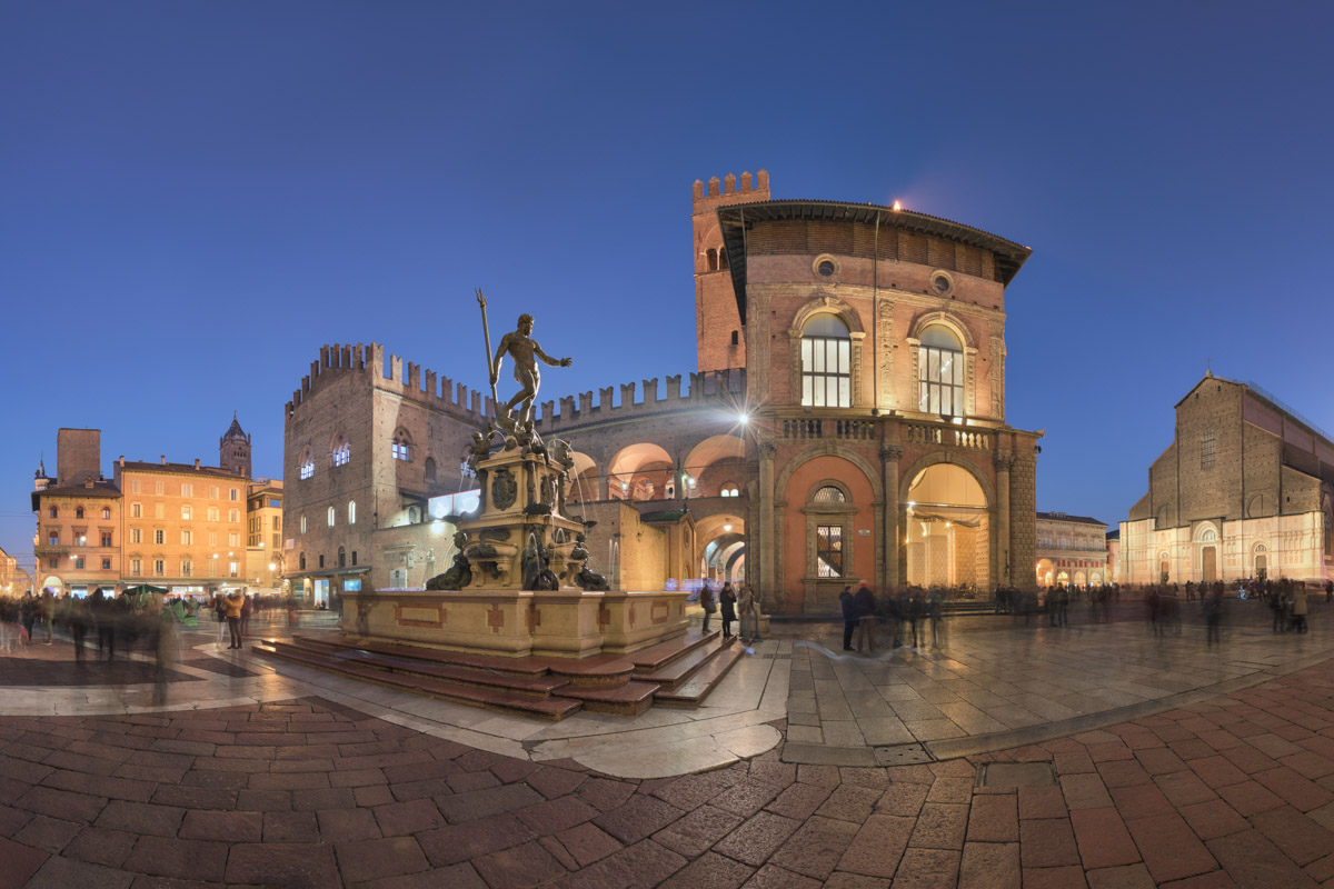 Fountain of Neptune in the Evening, Bologna, Italy