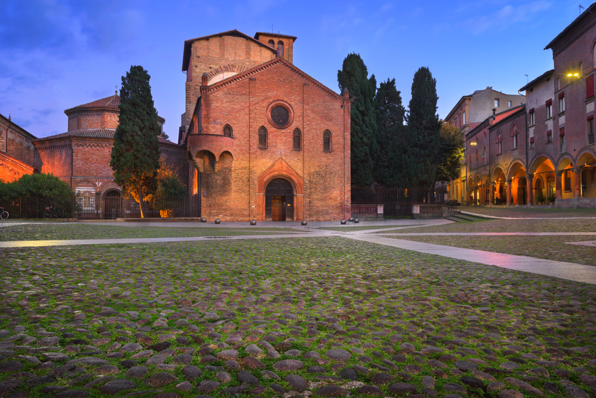 Piazza Santo Stefano in the Evening, Bologna, Italy