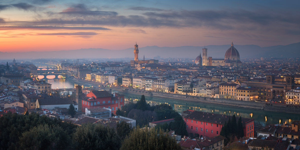 Panorama of Florence Skyline from Piazzale Michelangelo, Italy