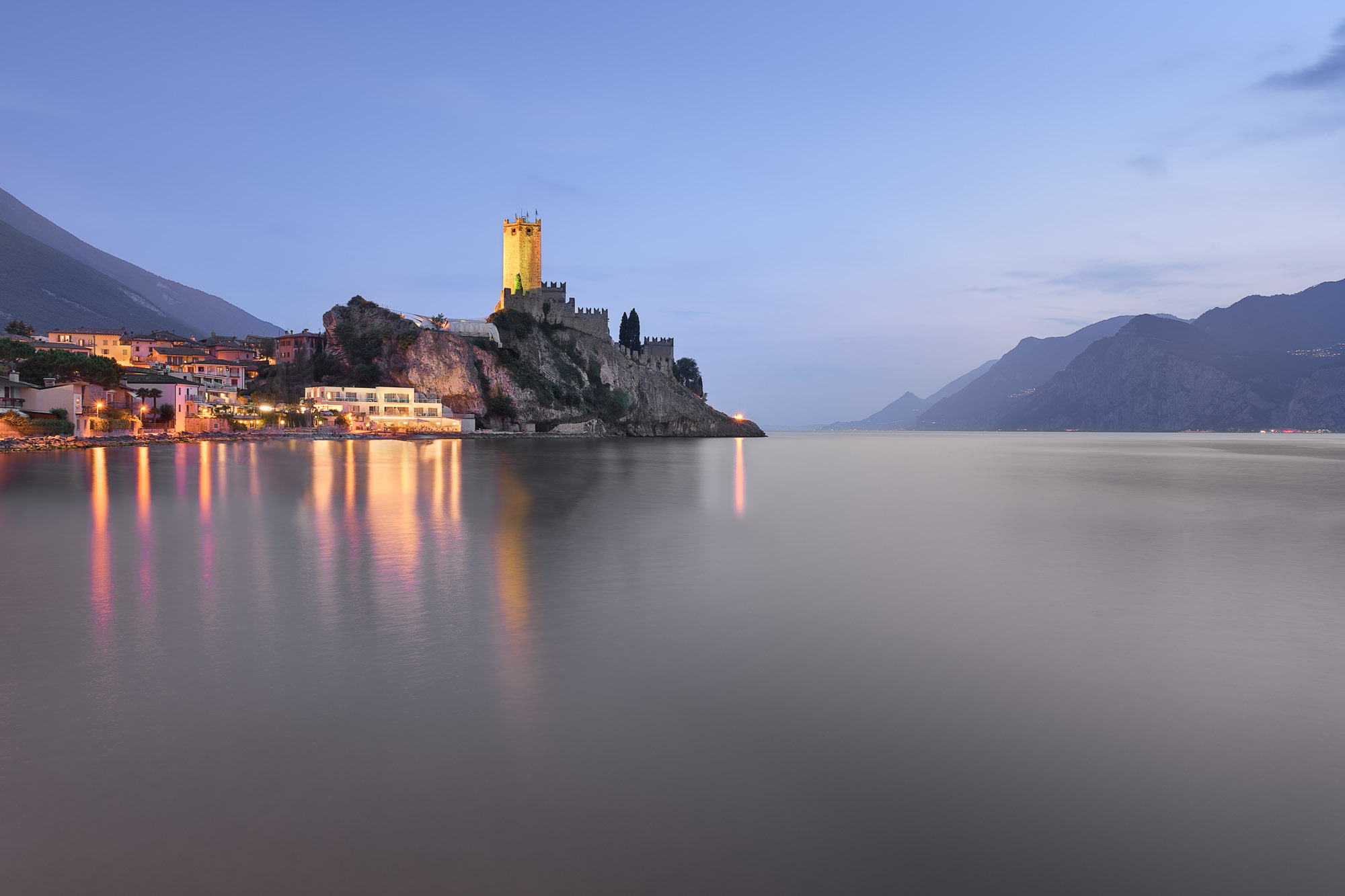 Lake Garda and Town of Malcesine, Italy