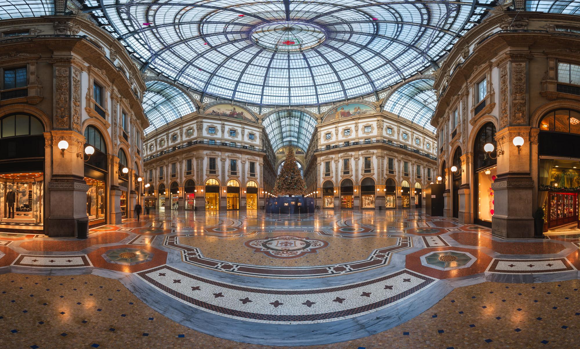 Panorama of Galleria Vittorio Emanuele II, Milan, Italy