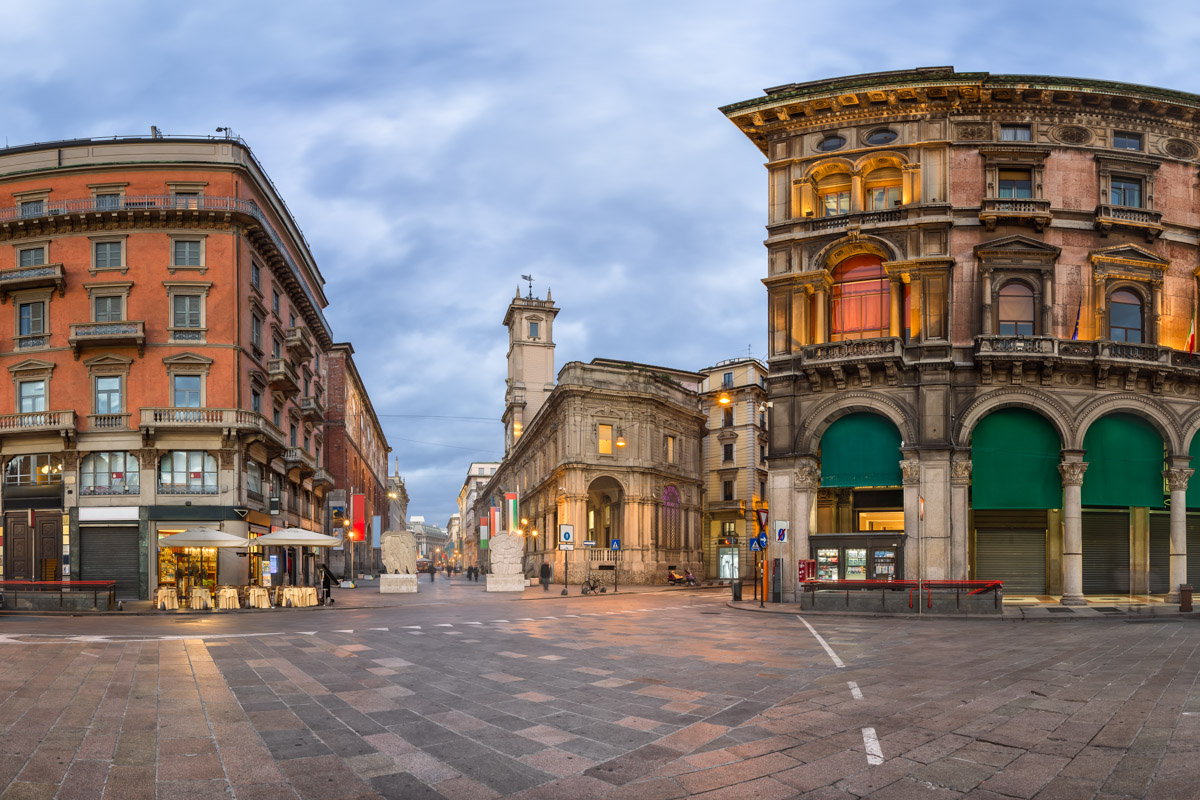 Piazza del Duomo and Via dei Mercanti, Milan, Italy