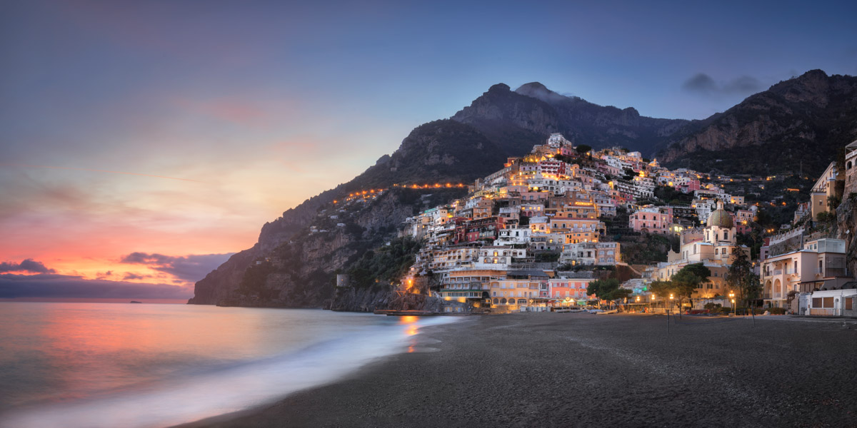 Panorama of Positano from the Beach, Amalfi Coast, Italy