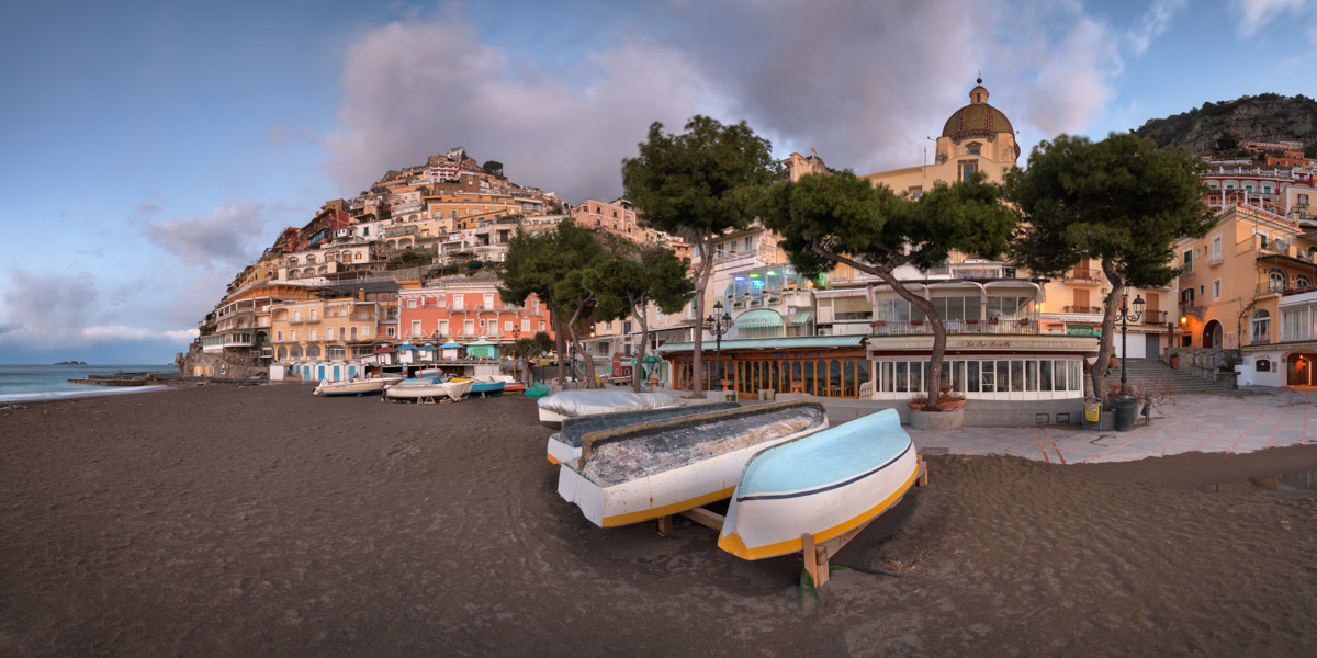 Panorama of Positano in the Morning, Amalfi Coast, Italy