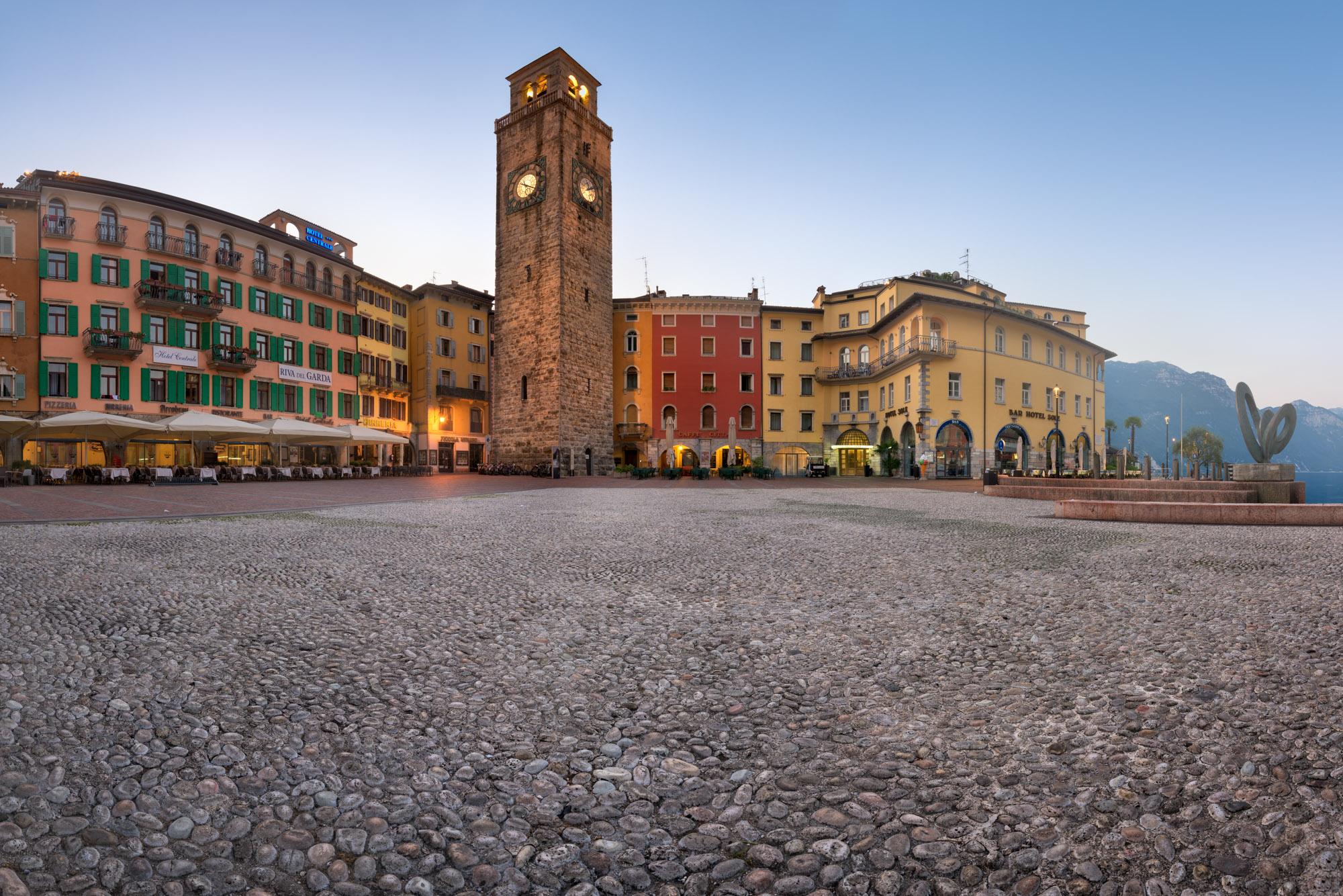 Piazza III November and Aponale Tower, Riva del Garda, Italy