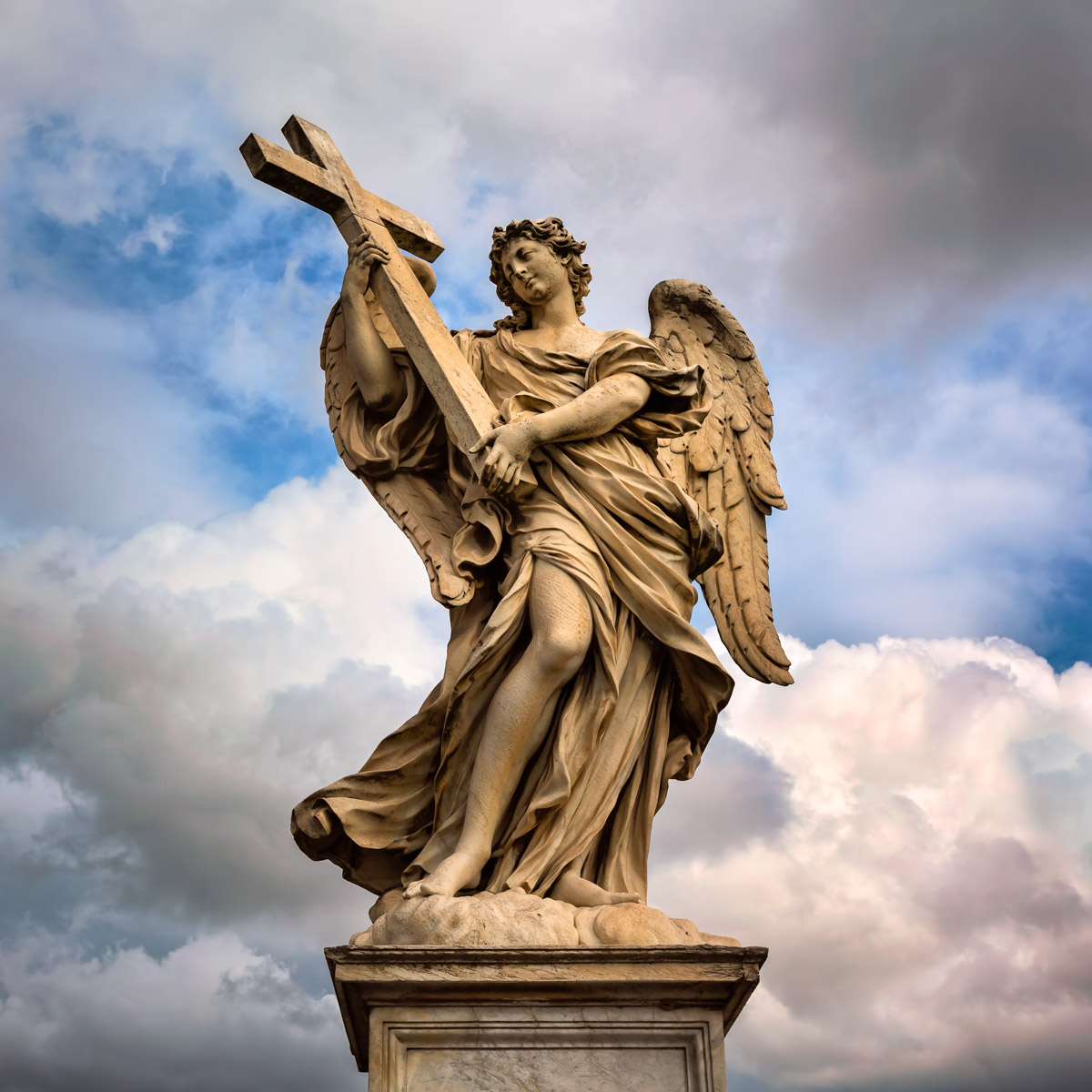 Angel with the Cross on Aelian Bridge, Rome, Italy