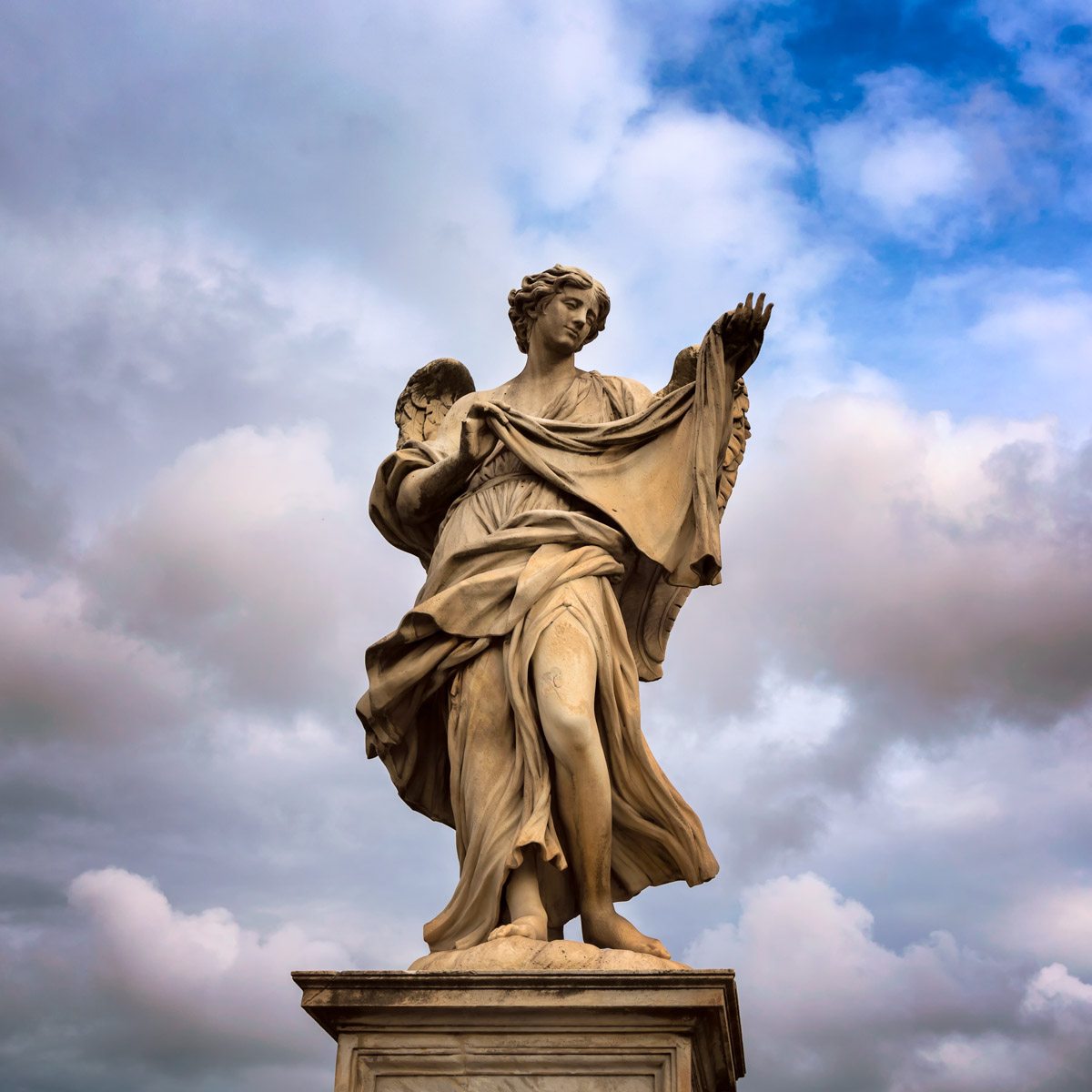 Angel with the Sudarium on Aelian Bridge in Rome, Italy