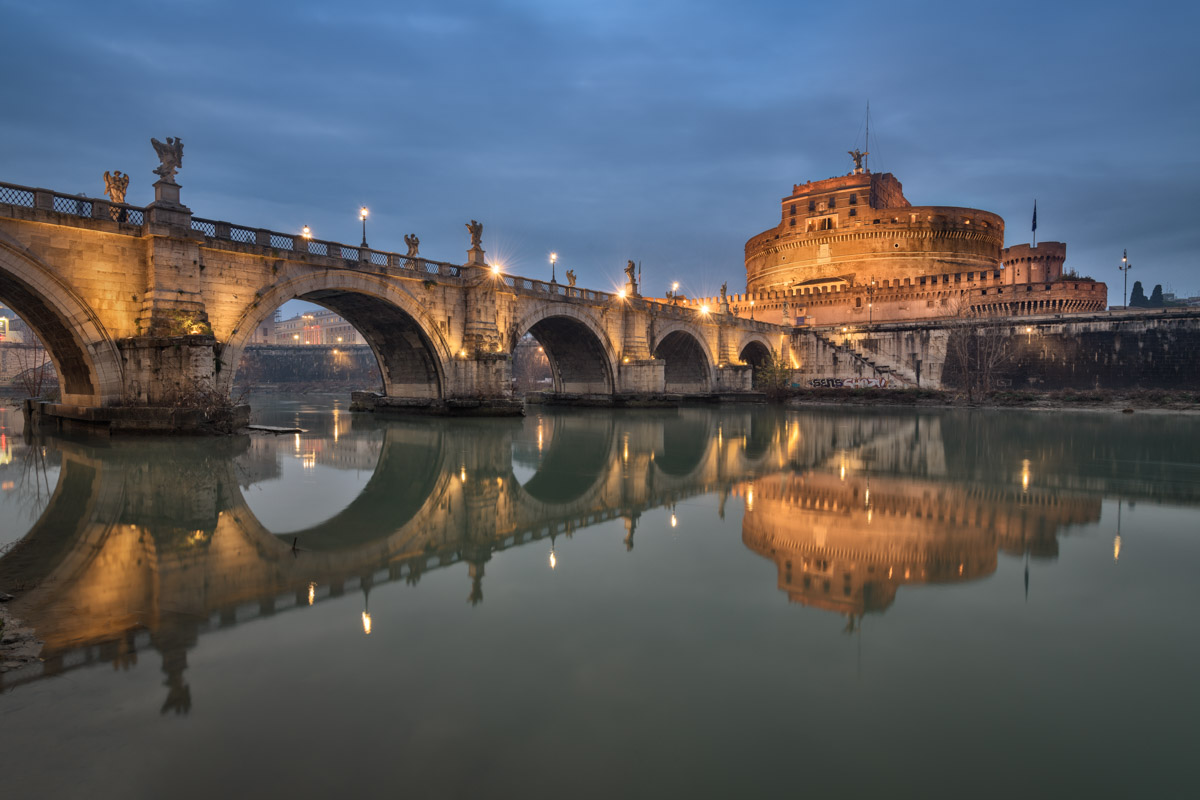Castel Sant Angelo and Ponte Sant Angelo, Evening, Rome, Italy