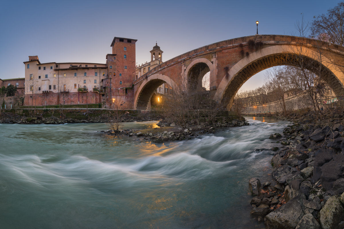 Fabricius Bridge and Tiber Island, Rome, Italy