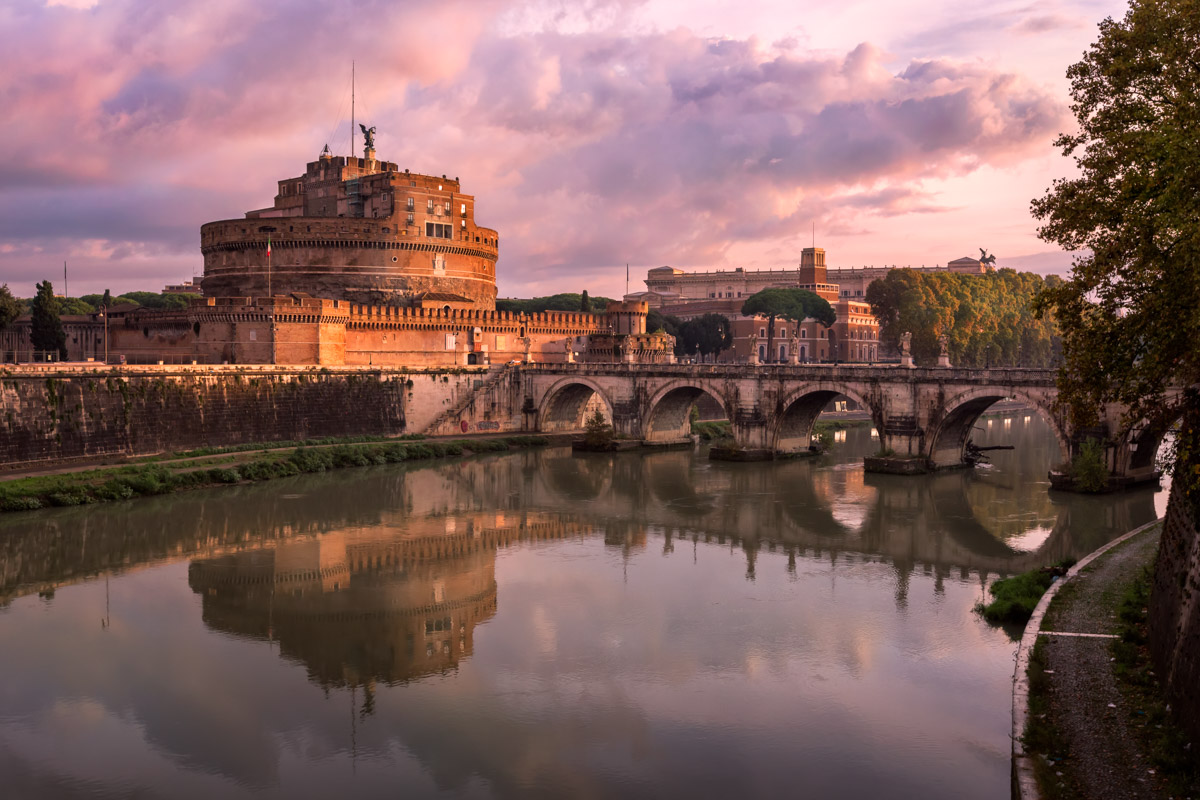 Hadrian Masoleum and Sant Angelo Bridge, Rome, Italy