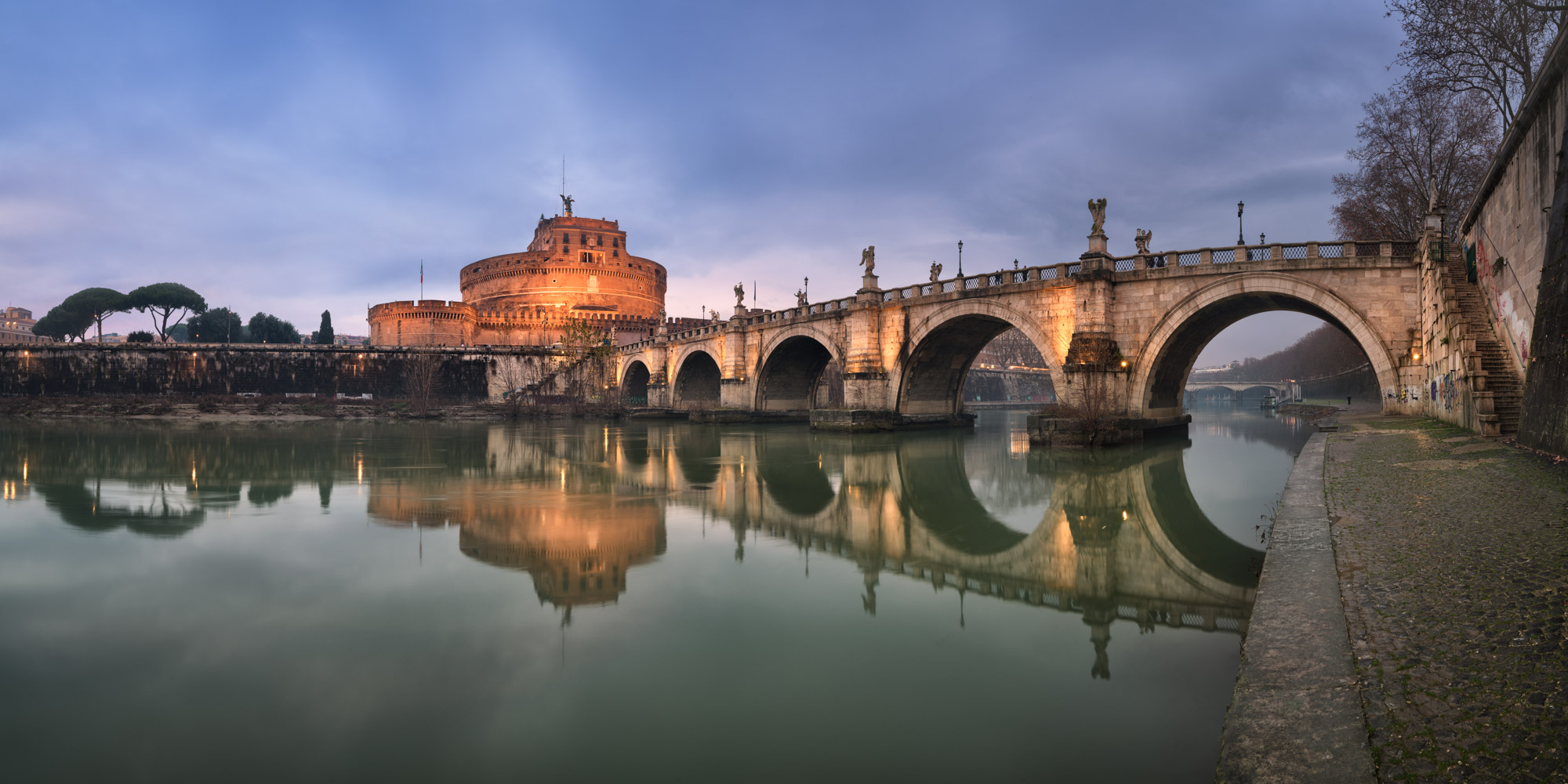 Panorama of Castel Sant Angelo and Ponte Sant Angelo, Rome