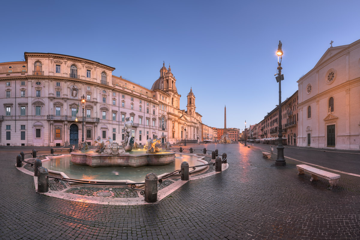 Panorama of Piazza Navona, Rome, Italy