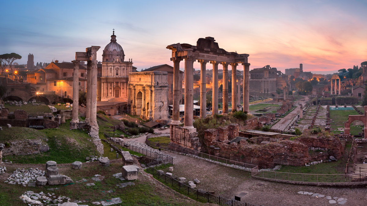 Panorama of Roman Forum, Rome, Italy