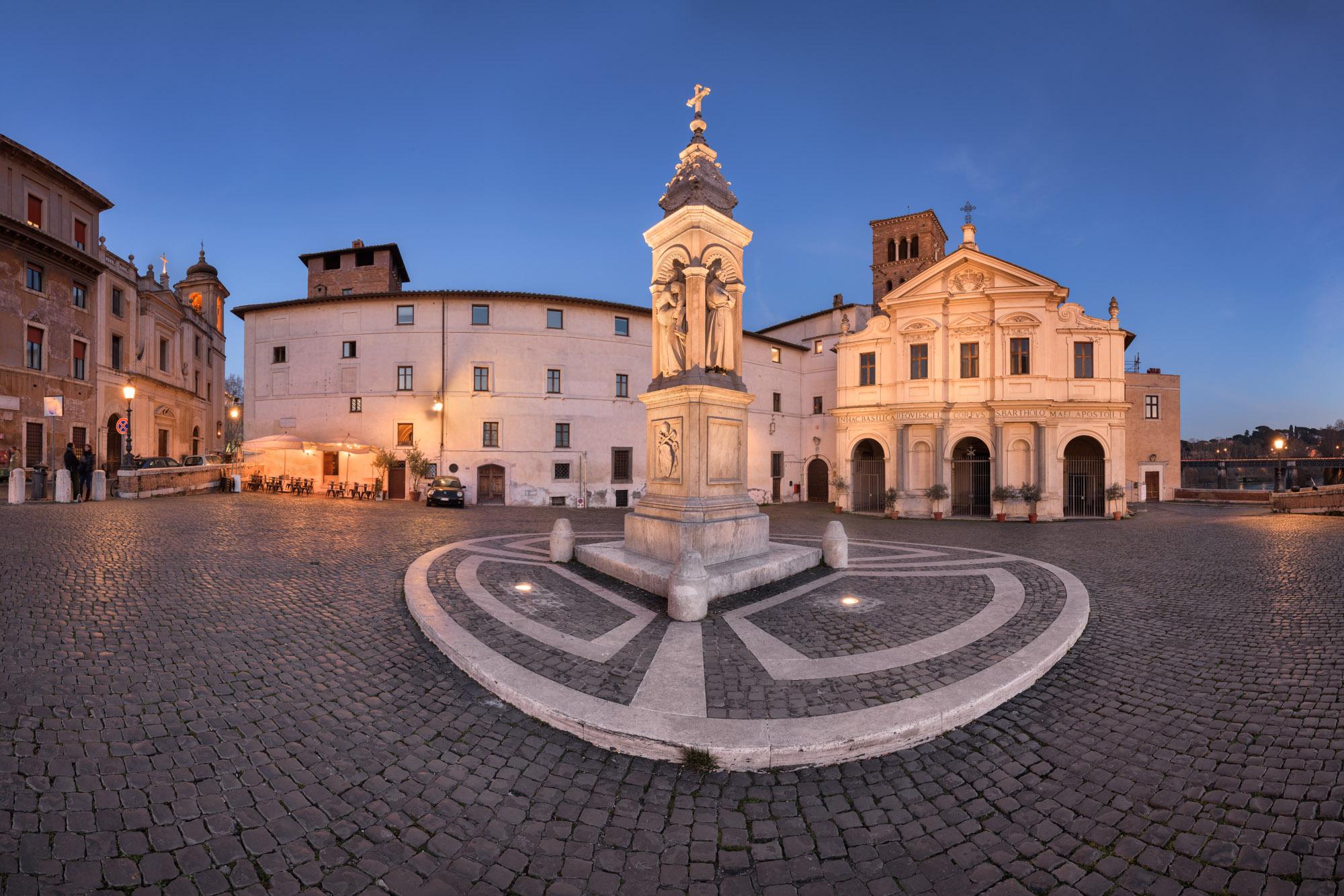 Piazza San Bartolomeo and Column of Pius IX, Rome, Italy