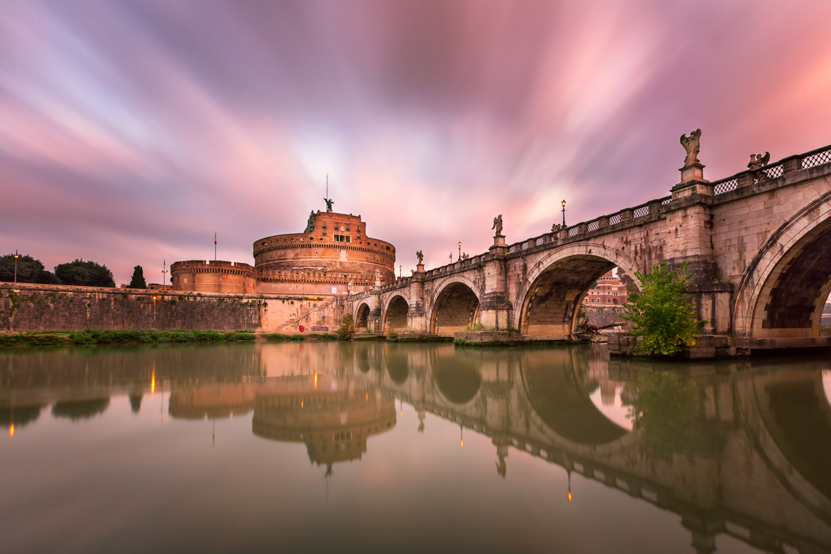 Ponte Sant Angelo and Castel Sant Angelo, Rome, Italy