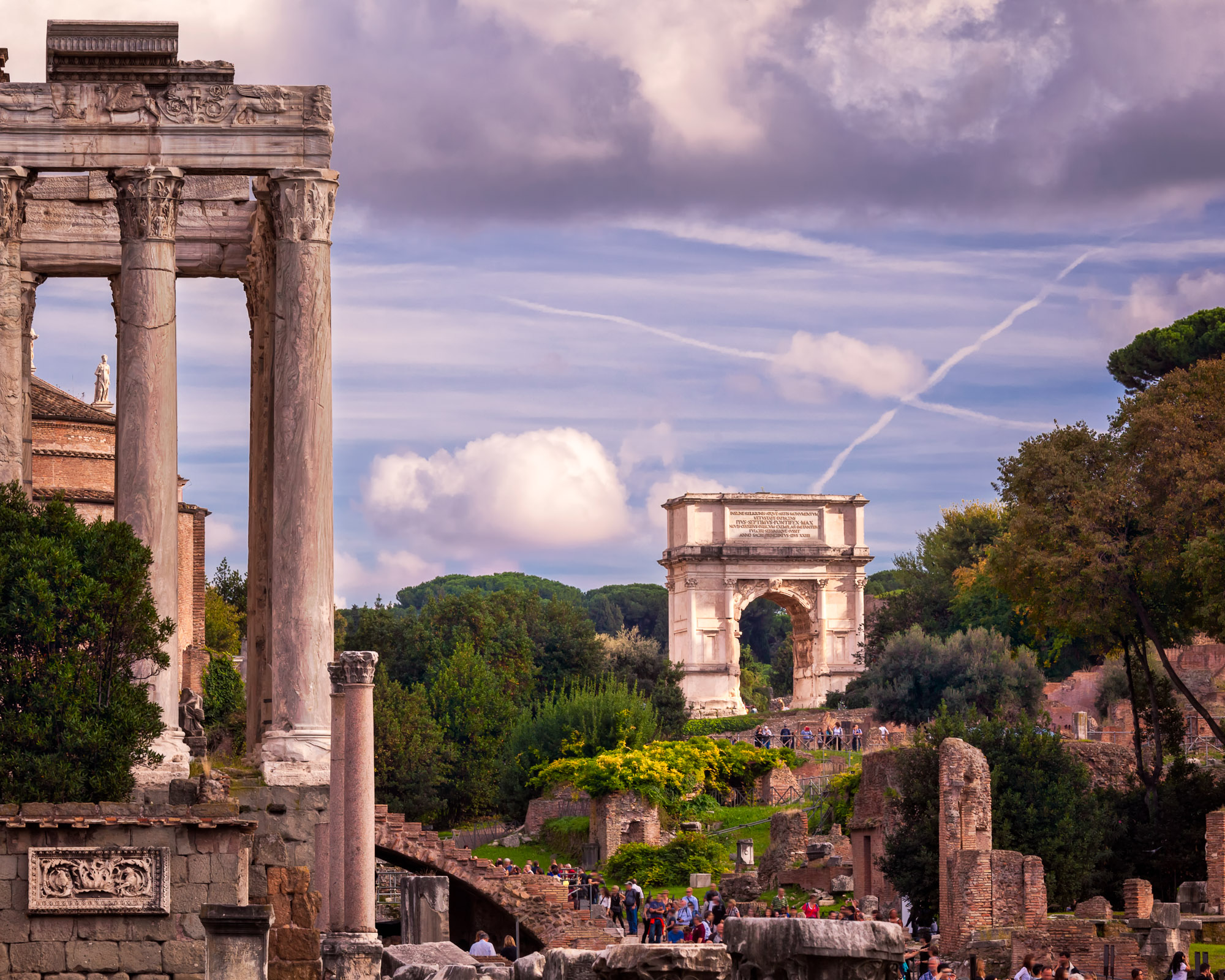Temple of Antoninus and Faustina and Arch of Titus, Rome, Italy
