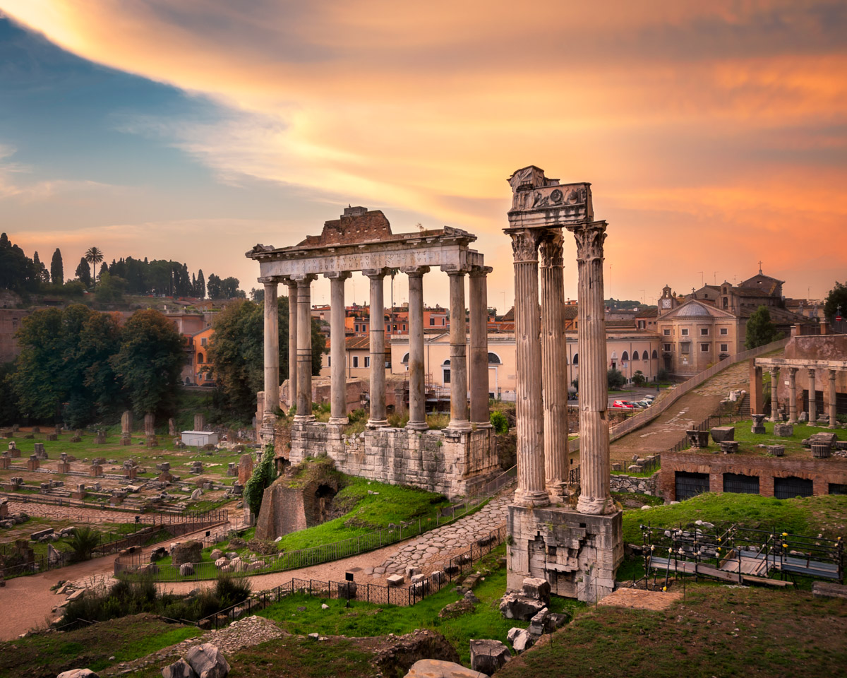Temple of Saturn and Temple of Vespasian and Titus, Rome, Italy