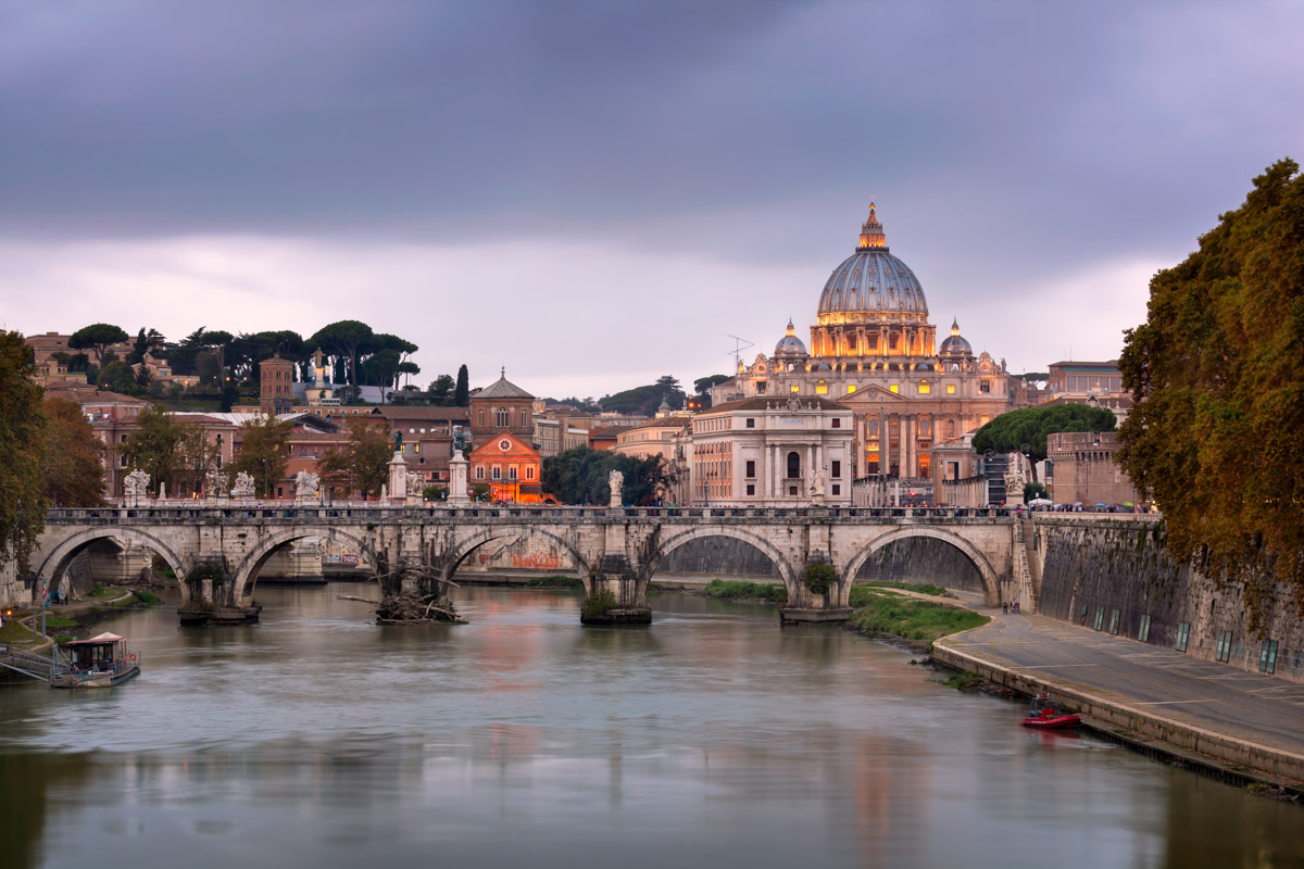 Tiber River and Saint Peter Cathedral, Rome, Italy