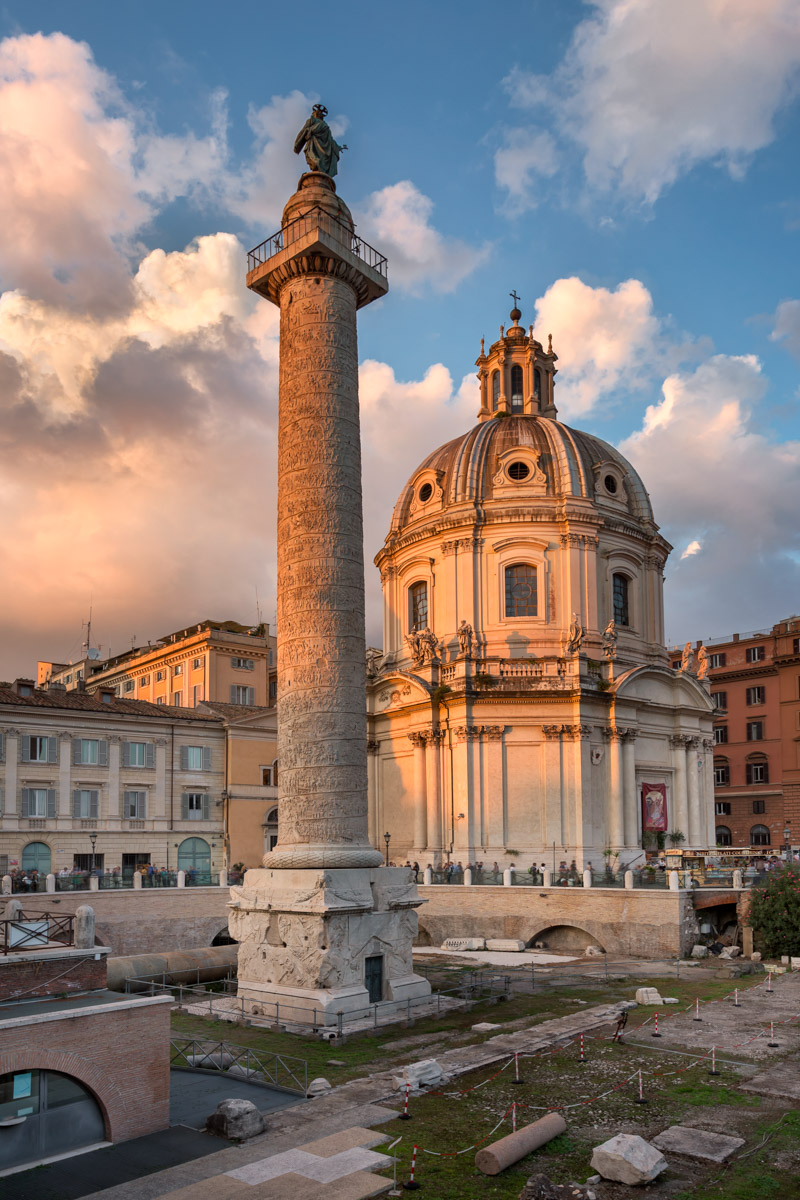 Trajan Column and Church of the Most Holy Name of Mary, Rome