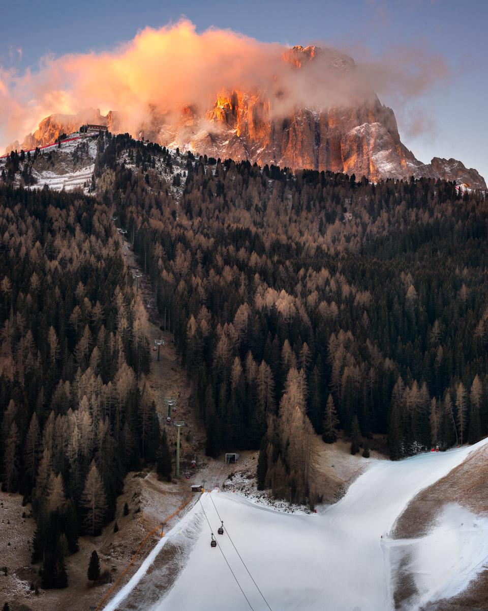 Ski Resort Selva di Val Gardena at Sunrise, Dolomites, Italy