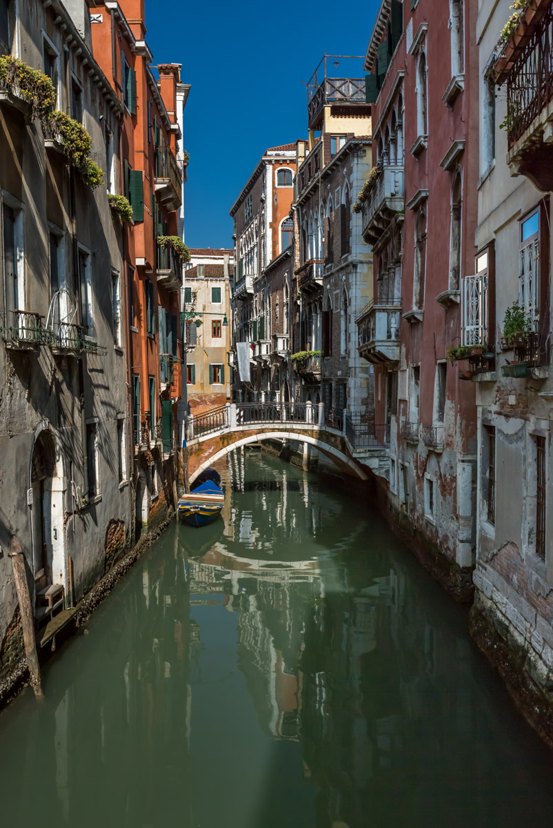 Canal, Bridge and Historical Buildings in Venice, Italy
