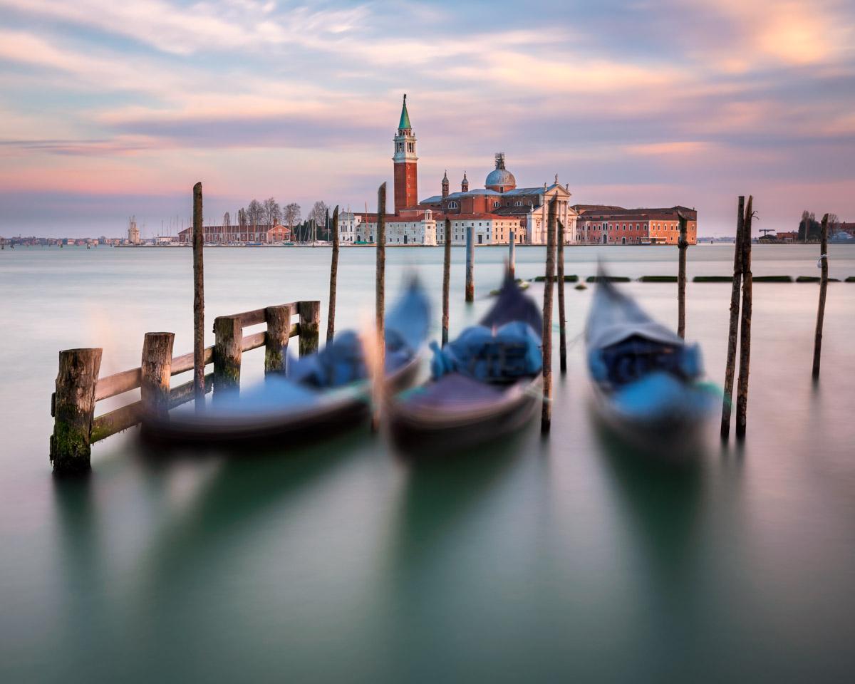 Gondolas, Lagoon and San Giorgio Maggiore Church, Venice, Italy
