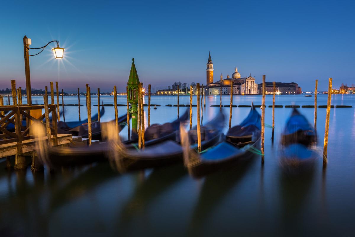 Gondolas, Venetian Lagoon and San Giorgio Maggiore Church, Venice