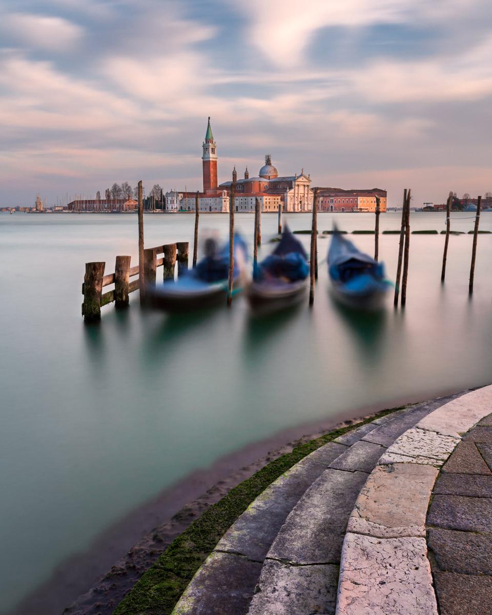Lagoon, Gondolas and San Giorgio Maggiore Church, Venice, Italy