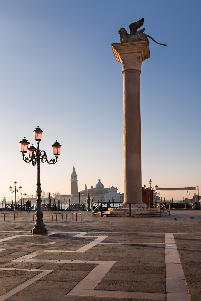 Piazza San Marco and Winged Lion Column, Venice, Italy
