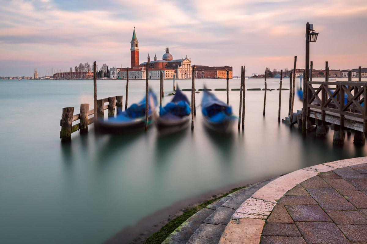 Venetian Lagoon, Gondolas and San Giorgio Maggiore Church, Venic