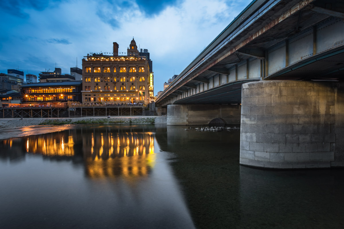 Kamo River and Shijo Dori Bridge, Kyoto, Japan