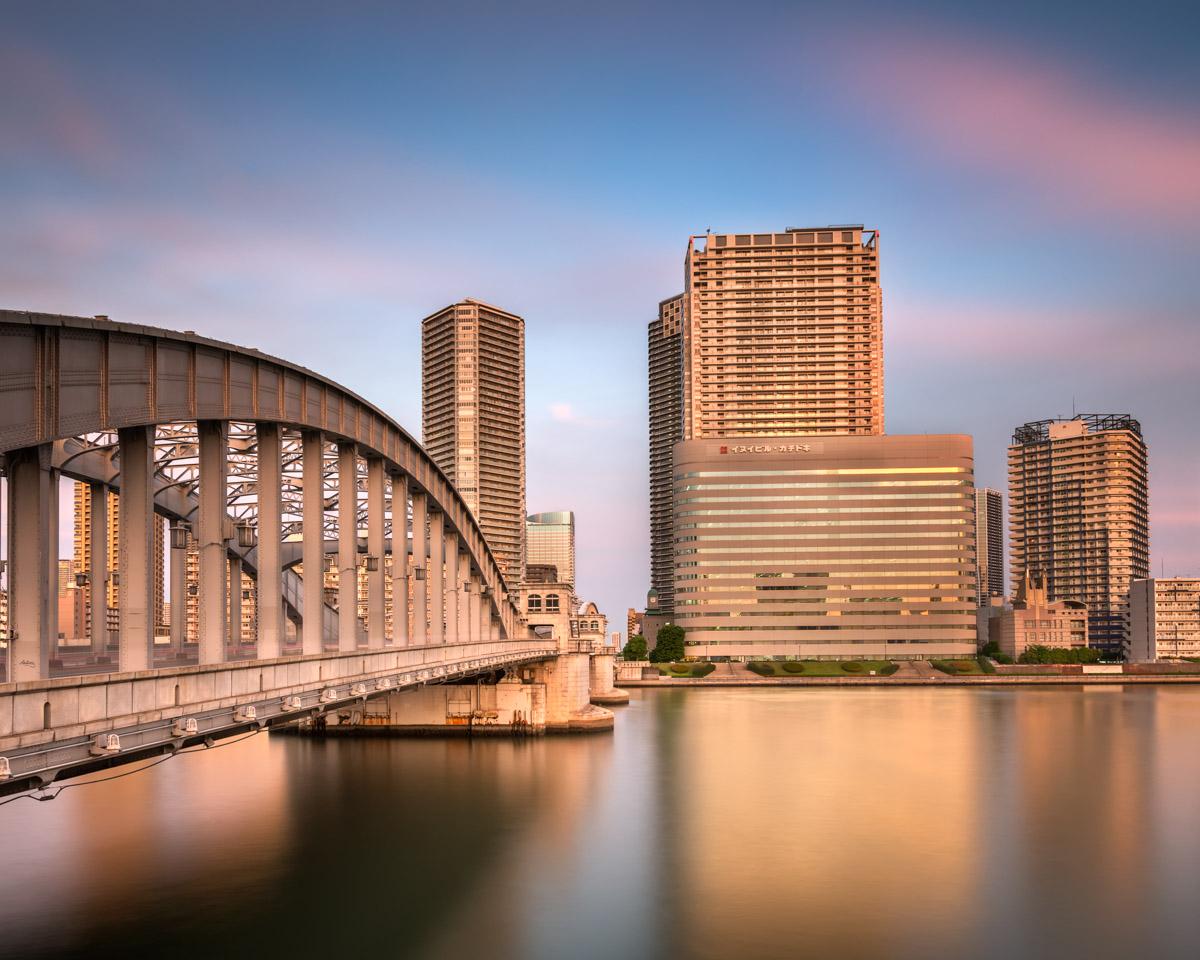 Kachidoki Bridge and Sumida River, Tokyo, Japan