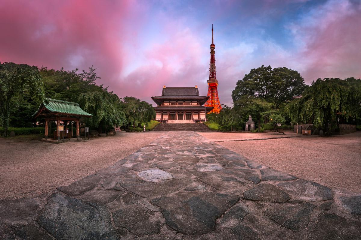 Zojo-ji Temple and Tokyo Tower, Tokyo, Japan