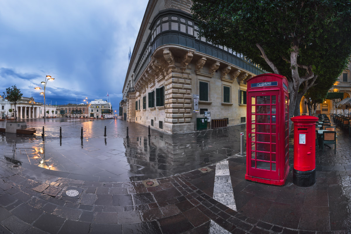 Panorama of Saint George Square in the Morning, Valletta, Malta