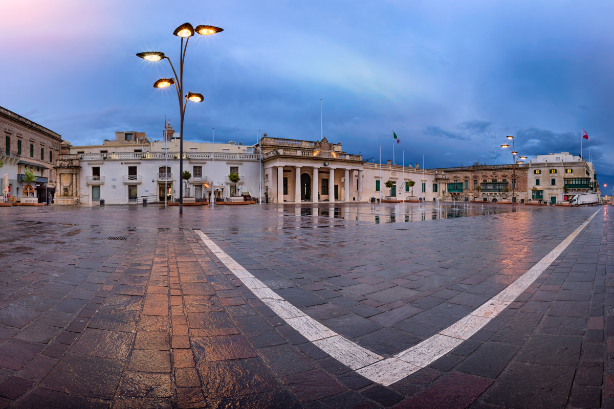 Panorama of Saint George Square, Valletta, Malta